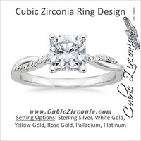 Cubic Zirconia Engagement Ring- 1.10 TCW Cushion Cut with Twisted Pave Split Band
