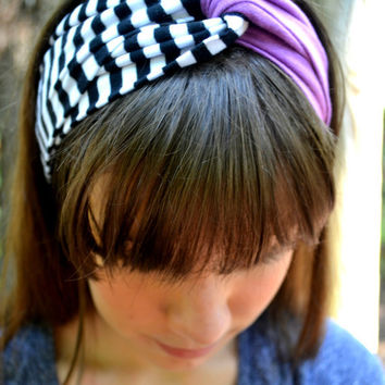 Black and White Striped and Solid Purple Turban Headband