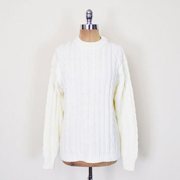 Vintage 70s 80s Ivory Irish Fisherman Sweater Jumper Cable Knit Sweater Oversize Sweater Slouchy Sweater Preppy Sweater Men Women S M L