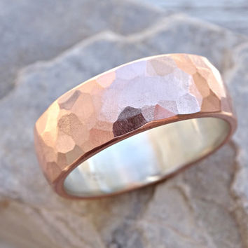 wide mens wedding band copper silver, cool mens ring rustic, alternative wedding ring copper, hammered mens ring copper anniversary gift