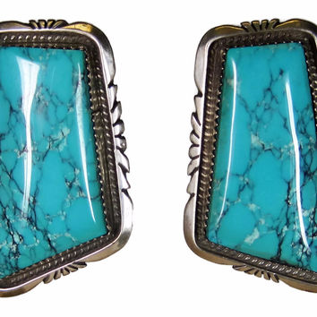 Vintage Navajo Turquoise Statement Earrings Betty Bitsie