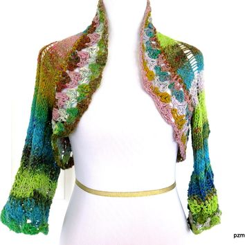 Lime and Turquoise Noro Handknit Bolero Shrug