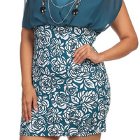 Rose Print Mini Dress - Teal - Plus Size