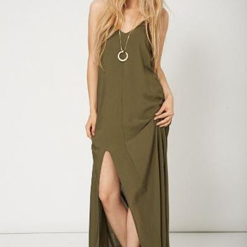 Military Colour Maxi Dress With Side Split