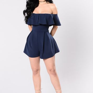 In My Feelings Romper - Navy