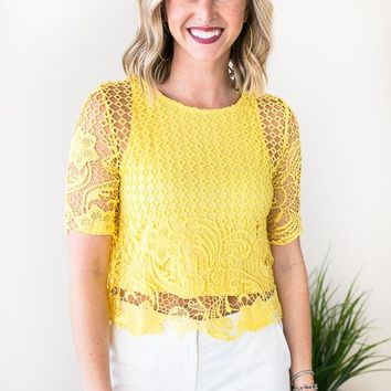 Revolve Yellow Lace Crop Top