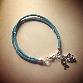Teal Green Awareness Friendship Faux Suede Leather Bracelet-Ovarian Cancer-Polysctic Syndrome-Anxiety Disorder-Kidney Cancer