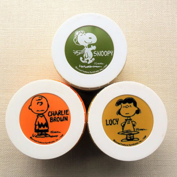 Snoopy Lucy Charlie Brown Thermos Insulated Jars Set of 3 Peanuts Characters 1960s Food Storage Kids Adults Work School Lunchbox Thermos