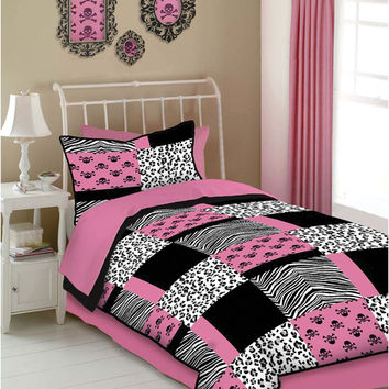Veratex Indoor Bedroom Decorative Bedding Accessories Pink Skulls Comforter Set Twin Pink