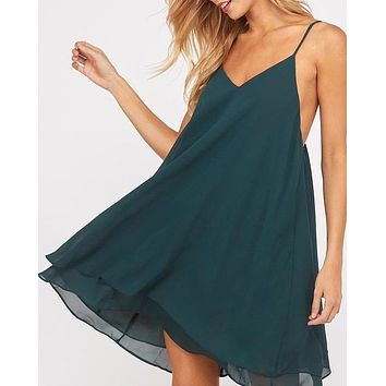 essential double layered v-neck sleeveless dress - hunter green