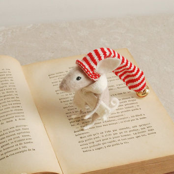 Needle felted bunny, felt ornament, needle rabbit, soft sculpture, figurine, animal forest, red stripped bonnet, tender mouse