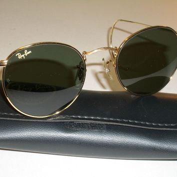 50mm B&L RAY BAN GOLD PLATED WIRE G15 UV GLASS ROUND WIRE AVIATOR SUNGLASSES