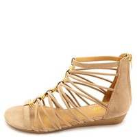 Strappy Sliver Wedge Gladiator Sandals by Charlotte Russe - Nude