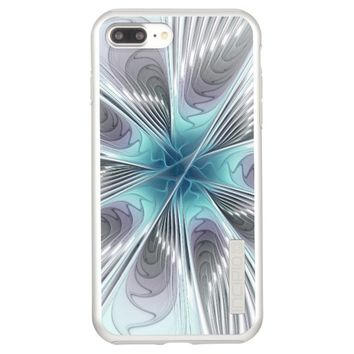 Elegance, Modern Blue Gray White Fractal Flower Incipio DualPro Shine iPhone 7 Plus Case