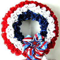 Patriotic holiday wreath, Memorial Day wreath, Fourth of July decoration, Door decoration, Holiday wreath, Soldier memorial wreath (J39)