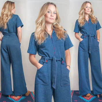 70s Denim Jumpsuit | Blue Jeans Style Disco Bell Bottom Zip Up Romper | One Piece Playsuit Catsuit Hippie Belted Wide Leg Flared Pants Suit