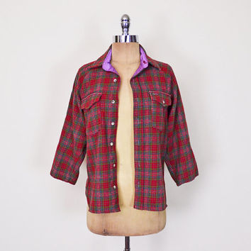 Pendleton Shirt Red Plaid Shirt Plaid Flannel Shirt 100% Wool Shirt Button Up Shirt Tiny Fit 70s 80s 90s Grunge Shirt Women XS Extra Small S