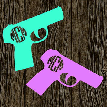 Gun Monogram | Female Gun Owner | Gun Decal | NRA Decal | Gun Support Decal | Firearm Decal | Pistol Monogram Decal | Pistol Sticker |Preppy