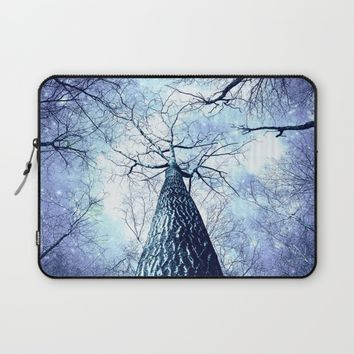 Wintry Trees Periwinkle Ice Blue Space Laptop Sleeve by 2sweet4words Designs