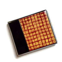 Vintage Enameled Cigarette Case, Cigarette Holder, Tobacciana, Cigarette Box, Brown and Yellow Enamel, Mid Century