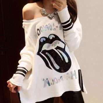 PEAPIX3 New Spring Women's T-shirts Sexy Slash Neck Off Shoulder Cartoon Printing Loose Long Sleeve Tops T-shirt = 1931889476