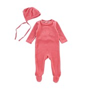 Bee & Dee Baby Girls' Rose Velour Stretchie With Bonnet