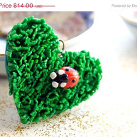 ON SALE Heart Pendant, Grass Heart and Ladybug Necklace