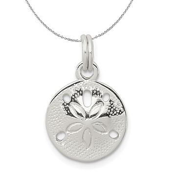 Sterling Silver 13mm Polished Sand Dollar Charm Necklace