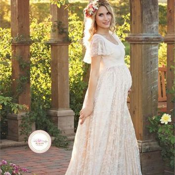 2018 Summer Fancy Ivory Lace Maxi Mommy To Be Dress