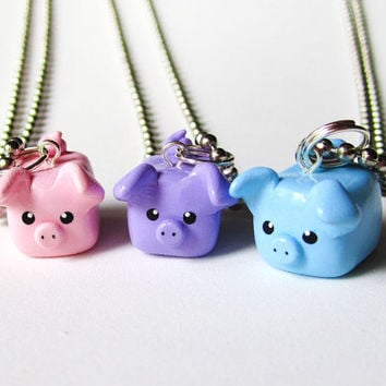 Pastel Colors Three Little Pigs Best Friend Necklace Set of 3