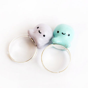 Octopus Ring - Kawaii Handmade Critter Miniature Whimsical Jewelry (Mint OR Lilac)