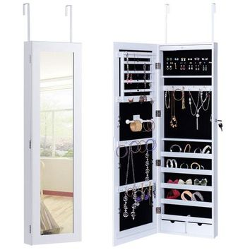 Door Mounted Mirrored Jewelry Cabinet