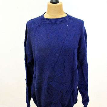 Vintage 80s Jantzen Plain Blue Indie Sweater Jumper XL