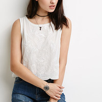Embroidered Cutout Slit-Back Top