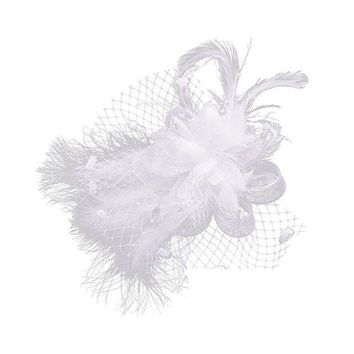 ESBONIS 1pcs White Birdcage Net Wedding Bridal Fascinator Face Veils Feather Flower with Hairpins