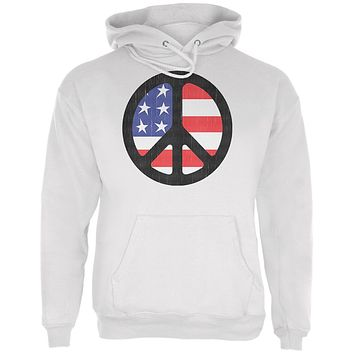 4th of July American Flag Peace Sign Distressed Halftone Mens Hoodie
