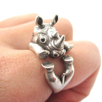 Realistic Rhinoceros Rhino Shaped Animal Wrap Ring in Silver | US Size 6 to 9