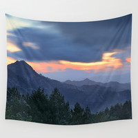 """Sunset at the mountains"". Forest dreams Wall Tapestry by Guido Montañés"