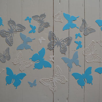 3D Butterflies made of textured card stock in Ivory, Grey and Blue shades--- Let them fly around in your nursery or dress up your party