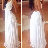 White Chrochet Backless Maxi Dress