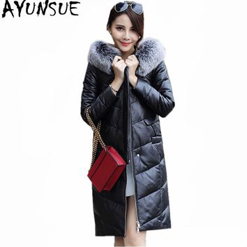 AYUNSUE 2017 Women Leather Down Jacket Warm Winter Coat Female Faux Fox Fur Collar Hooded Women's Jackets Jaqueta Couro WXF283