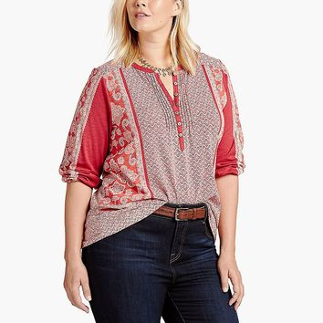 Lucky Brand Scarf Print Henley Womens - Red Multi