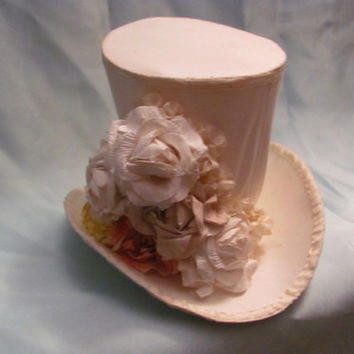 winter white hand painted flower mini top hat by offbeatvintage