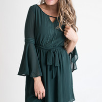 The Hunt Is Over Green Bell Sleeve Dress