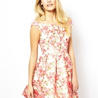 Lydia Bright Daisy Off The Shoulder Floral Print Dress