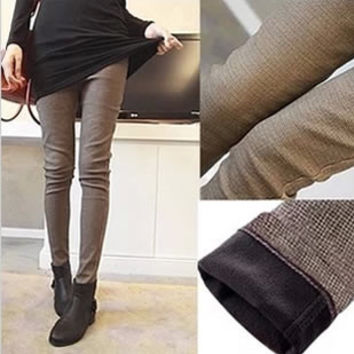Hot 2016 autumn and winter plus size velvet thicken legging boot cut jeans slim trousers skinny pencil pants female trousers R30