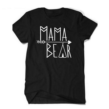 "Women's Fashion Summer T-shirts Letter Printed ""Mama Bear"" Short Sleeve Large Size Tshirt"