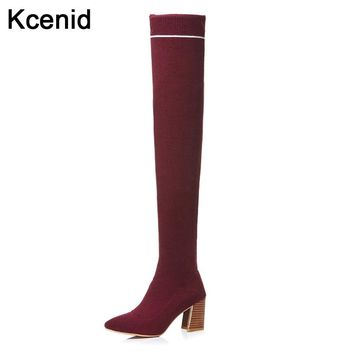 Kcenid Plus size 43 fashion pointed toe socks boots women over the knee thigh high boots high heels autumn winter knitted shoes