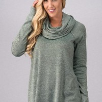 Cozy Cowl Neck Top - Mint