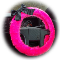 Pretty Barbie Pink fluffy faux fur car steering wheel cover with Black satin Bow